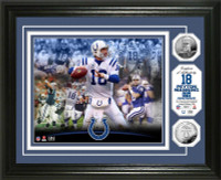 "Peyton Manning Indianapolis Colts ""Career"" 2pc Silver Coin Photo Mint Framed LE 5,000"