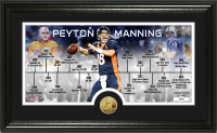 Peyton Manning Retirement Denver Broncos and Indianapolis Colts Career Time Line Gold Coin Photo Mint LE  2500
