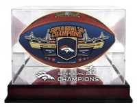 **Denver Broncos Super Bowl 50 Champions Mahogany Mirror Back Football Display Case