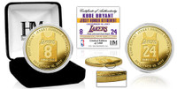 Kobe Bryant Lakers Jersey Number Retirement Gold Mint Coin w/Case LE 2,480