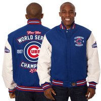 Chicago Cubs 2016 3 Time World Series Champions Two-Tone Wool Leather Jacket - Royal/White