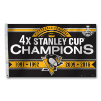 Pittsburgh Penguins 4 Time NHL Stanley Cup Champions 3' x 5' Team Flag