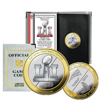 *Super Bowl LI Atlanta Falcons vs New England Patriots Official NFL Two Tone Silver and Gold Flip Coin w/Case