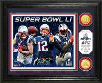 New England Patriots 2016 AFC Champions Player Signature Super Bowl LI 2pc Bronze Coin Photo Mint LE 5000