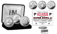 "Atlanta Falcons ""Road to Super Bowl LI"" 3pc Silver Coin Set LE 5000"