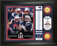 New England Patriots 2016 Super Bowl LI Champions 2pc Bronze Coin Photo Mint w/Season's Scores LE 5000
