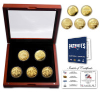 New England Patriots 4-Time Super Bowl Champions 5pc 24kt Gold Set w/Case LE of only 1,000