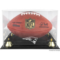 New England Patriots Logo Acrylic Gold Riser Football Display Case