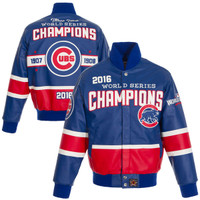 Chicago Cubs 2016 World Series Champions Full Leather Jacket Royal/Red