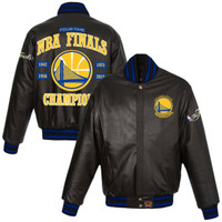 Golden State Warriors 2015 NBA Finals Champions Full Leather Jacket - Black