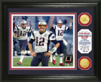 New England Patriots Tom Brady 2016 Super Bowl LI Champions MVP 2pc Bronze Coin Photo Mint LE 5000