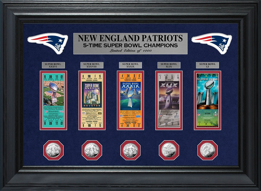 bb27527c New England Patriots 5 Time Super Bowl Champions 5pc Silver Coin and 5pc  Ticket Collection Framed LE 1,000