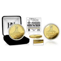 Pittsburgh Penguins 2017 Back to Back Stanley Cup Champions Gold Mint Coin LE 5000