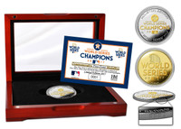 Houston Astros 2017 World Series Champions 2-Tone Gold and Silver Coin w/Glass Cherry Wood Case LE 2017