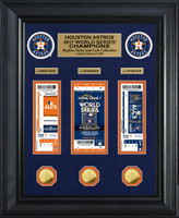 "Houston Astros Highland Mint 2017 World Series Champions 22"" x 18"" Deluxe Gold Coin & Ticket Collection LE 1000"