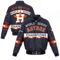 Houston Astros 2017 World Series Champions Lambskin Leather Jacket with Leather Logos - Navy