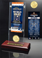 Houston Astros 2017 World Series Champions Ticket & Bronze Coin Acrylic Desk Top Display LE 5000
