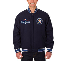 Houston Astros 2017 World Series Champions Wool Full-Snap Jacket - Navy