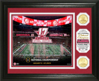 Alabama Crimson Tide 2017 CFP National Championship 2pc 24k Gold Photo Mint LE 5,000