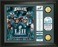 Philadelphia Eagles Super Bowl LII Champions 2pc 24k Gold Coin Banner Photo Mint LE 5,000
