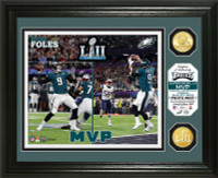 Philadelphia Eagles Nick Foles MVP Super Bowl LII Champions 2pc 24k Gold Coin Banner Photo Mint LE 5,000