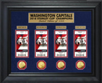 Washington Capitals 2018 NHL Stanley Cup Champions Deluxe 4pc Gold Coin & 4pc Ticket Collection LE 1,000
