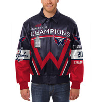 Washington Capitals 2018 NHL Stanley Cup Champions All-Leather Jacket – Navy/Red