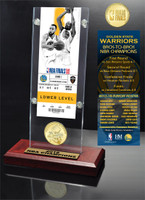 Golden State Warriors 2018 NBA Finals Champions Ticket and Bronze Coin Desktop Display LE 5,000