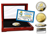 Golden State Warriors 2018 NBA Finals Champions 2-Tone Gold and Silver Coin w/Cherry Wood Case LE 2,018