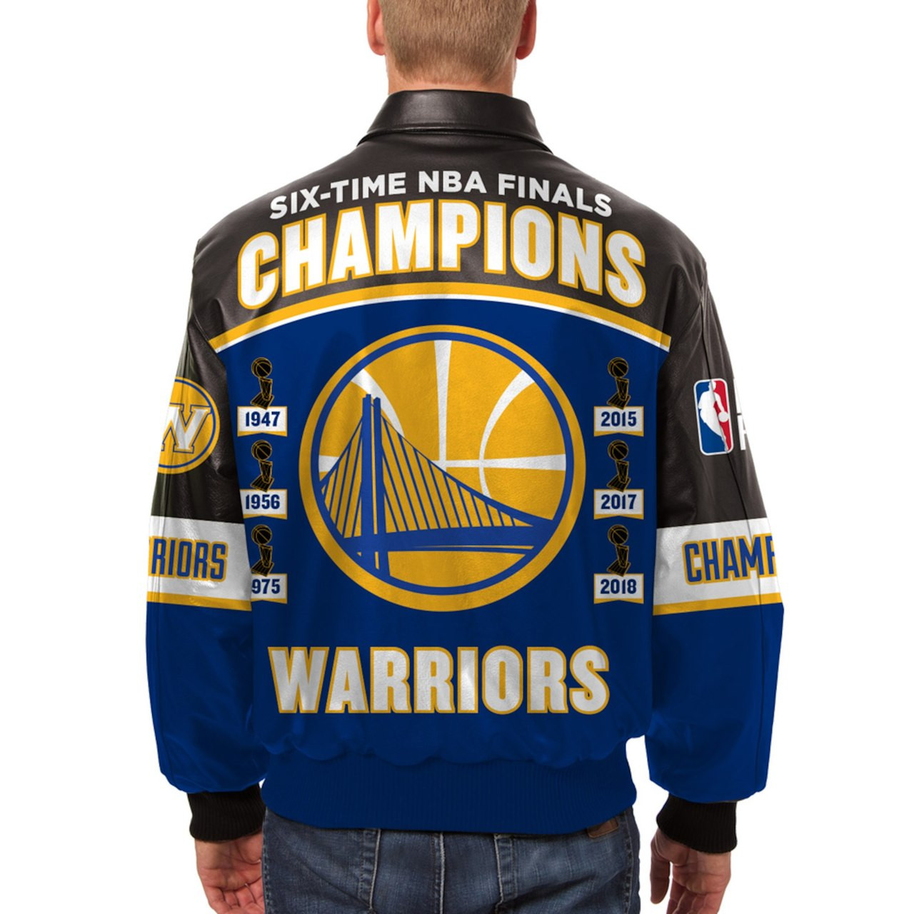 Golden State Warriors Jh Design 2018 Nba 6 Time Champions Leather Jacket With Leather Logos Black