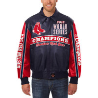 Boston Red Sox  2018 World Series Champions Logo Leather Jacket – Navy