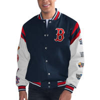 Boston Red Sox G-III Sports 9-Time World Series Champions Full-Snap Leather/Wool Jacket – Navy