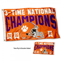 Clemson Tigers 3 Time National Champions 3' x 5' Flag