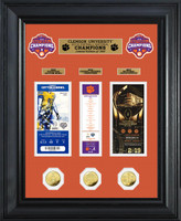 "Clemson Tigers 2018 National Champions 3pc 24k Gold Coin and 3pc Ticket Collection Framed 22"" x 18"" LE 1,000"
