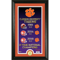 "Clemson Tigers 2018 National Champions 3X Legacy 24k Gold Coin Photo Mint Framed 22"" x 15"" LE 5,000"