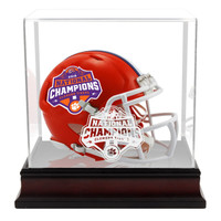 Clemson Tigers 2018 College Football Playoff National Championship Logo Revolution Speed Mini Football Helmet w/ Mahogany Mini Helmet Display Case
