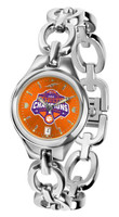 Clemson Tigers 2018 National Champions Ladies Silver Eclipse Link Watch (Orange or White Face)