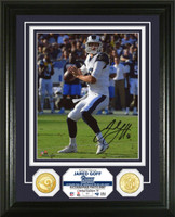 "Los Angeles Rams Jared Goff Autographed 2pc 24k Gold Photo Mint Framed 13"" x 16"" Limited Edition of only 50"