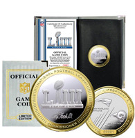 New England Patriots Super Bowl LIII 2-Tone 24k Gold and Silver Official Flip Coin LE 10,000