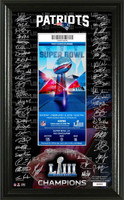 "New England Patriots Super Bowl LIII Champions Signature Ticket Framed 12"" x 20"" LE 10,000"