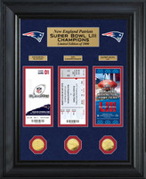 New England Patriots Road to Super Bowl 53 Deluxe 3pc 24k Gold Gold Coin & 3pc Ticket Collection Framed LE 1,000