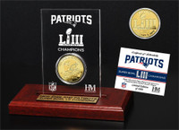 New England Patriots Super Bowl 53 Champions Silver Colored Coin Etched Acrylic Display LE 5,000