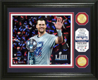 New England Patriots Tom Brady Super Bowl 53 Champions 2pc 24k Gold Coin Photo Mint Framed LE 5,000