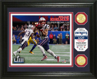 New England Patriots Julian Edelman Super Bowl 53 MVP 2pc 24k Gold Coin Photo Mint Framed LE 5,000
