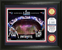 New England Patriots Super Bowl 53 Champions Celebration 2pc 24k Gold Coin Photo Mint Framed LE 5,000