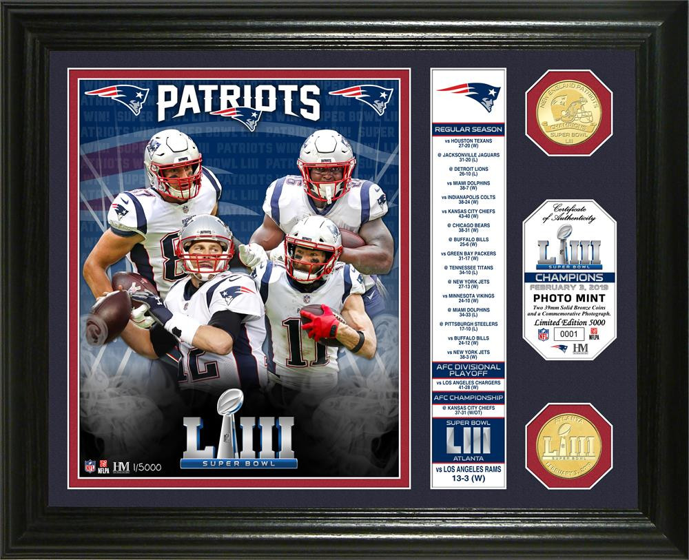 9856388f New England Patriots Super Bowl 53 Champions Banner 2pc 24k Gold Coin Photo  Mint Framed LE 5,000