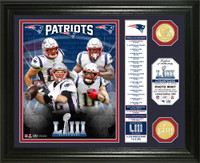 New England Patriots Super Bowl 53 Champions Banner 2pc 24k Gold Coin Photo Mint Framed LE 5,000