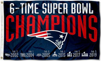 New England Patriots 6X Super Bowl Champions 3' x 5' Team Flag