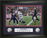 New England Patriots Tom Brady 500th Career TD Pass 2pc Silver Coin Photo Mint Framed LE 2,018