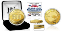 New England Patriots Tom Brady 500th Career TD Pass 24k Gold Coin October 4th, 2018 LE 5,000